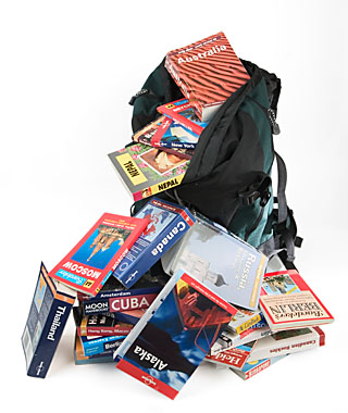 Rucksack with Travel Guide Books